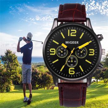 Relojes Quartz Mens Leather Wrist Watch 1