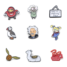 V113 Albert Einstein Ugandan Knuckles Meme Metal Enamel Pins and Brooches Fashion Lapel Pin Backpack Bags Badge Collection Gifts