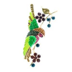 Женская Винтажная брошь в форме цветка, птица Колибри, стразы, зеленая эмалированная брошь, Ювелирное Украшение 6008