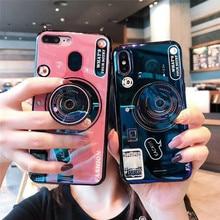 For Huawei Y6 Y7 Prime 2018 Case Blue Ray Camera Stand Holder Silicone Cover For Huawei Y5 Y6 Y7 2017 Y9 2018 Y6 Pro 2019 Coque