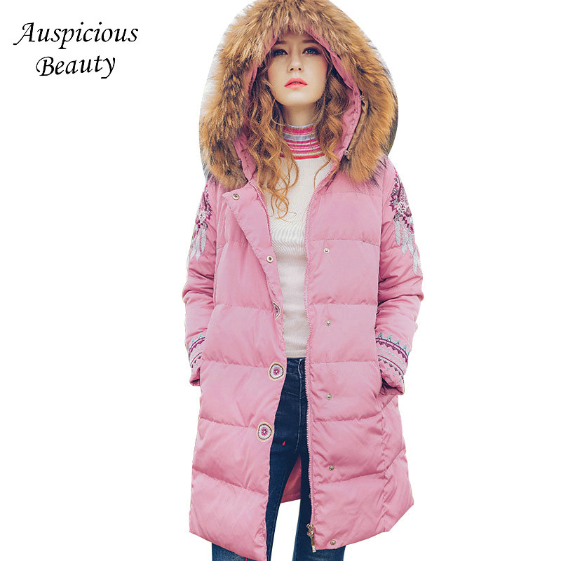 Winter New Women Down Coat Embroidery Down Jacket Womens Hooded Fur Collar Warm White Duck Down Winter Coats and Jackets CX04