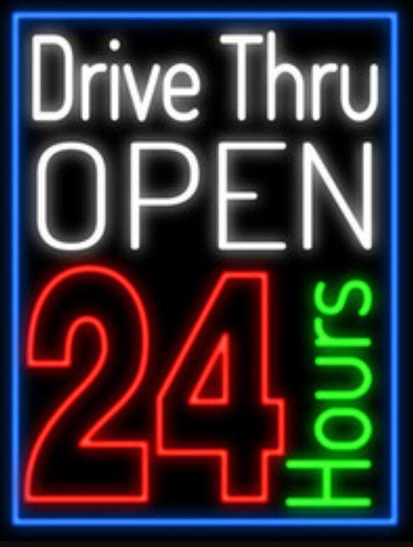 OPEN 24 HOURS DRIVE THRU Glass Neon Light Sign Beer Bar|Neon Bulbs & Tubes| |  - title=
