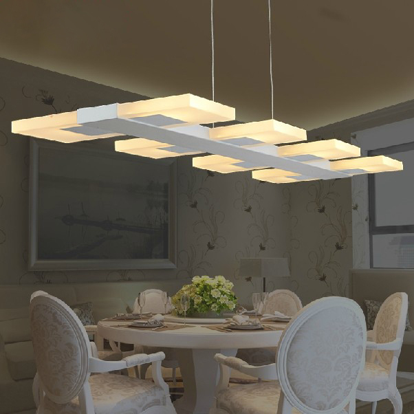 Modern LED Droplights Square Long Pendant Lights Fixture Home Indoor - Square kitchen light fixtures