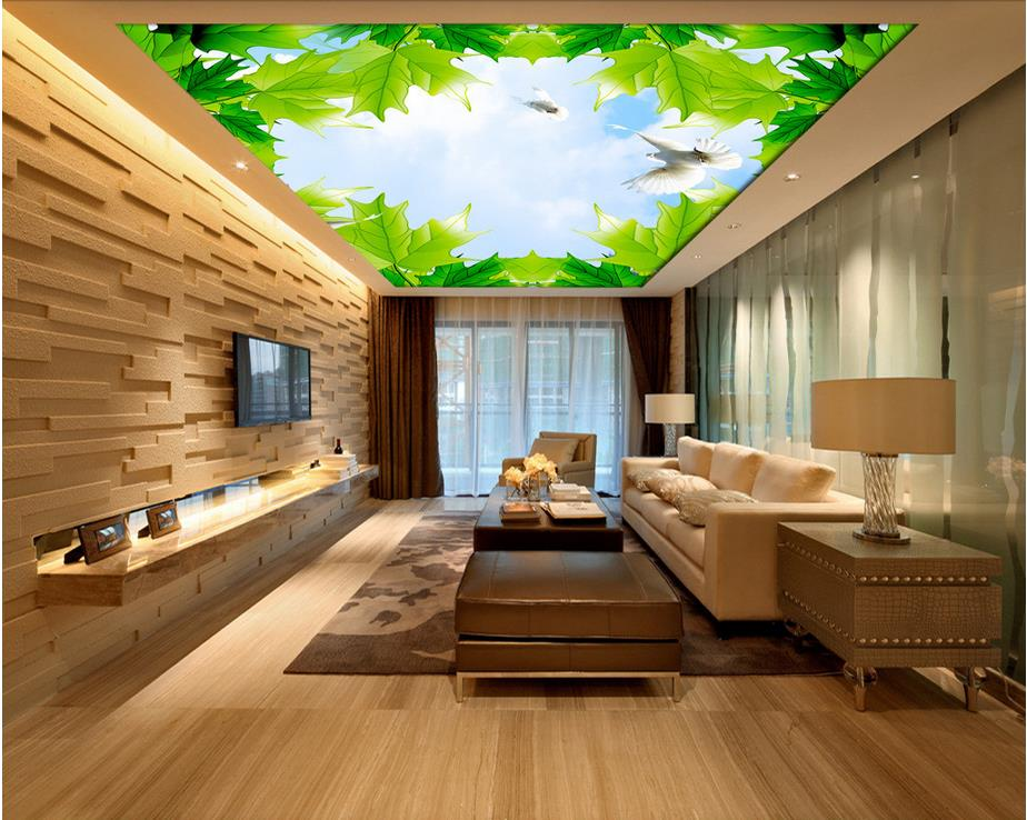 Wallpaper 3d stereoscopic maple sky cloud ceiling 3d for Wallpaper home renovation