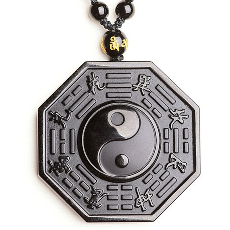 New Fashion Style Black Obsidian Necklace Pendant Chinese Bagua Mens Jewelry Womens -4085