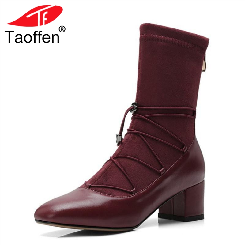 TAOFFEN Women Genuine Leather Boots Mid Calf Elastic Cross Strap Shoes Woman Winter High Heel Zipper Boots Size 33-40 qutaa national style winter women shoes genuine leather flat heel mid calf boot zipper women motorcycle snow boots size 34 40