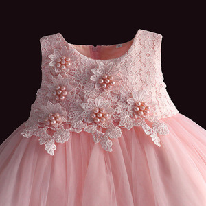Image 3 - new born baby girl dress pink lace baby wedding party ball gown pearl sleeveless girls christmas clothes vestido infantil 6M 4Y
