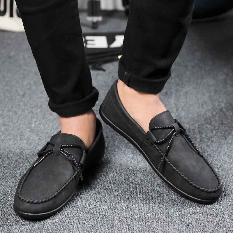 b6dd264b Hombres Negro Mocasines de Cuero Diseñador Italiano 2016 de Moda de Verano Para  Hombre Transpirable Zapatos Casuales Resbalón En Zapatos de Los Hombres de  ...