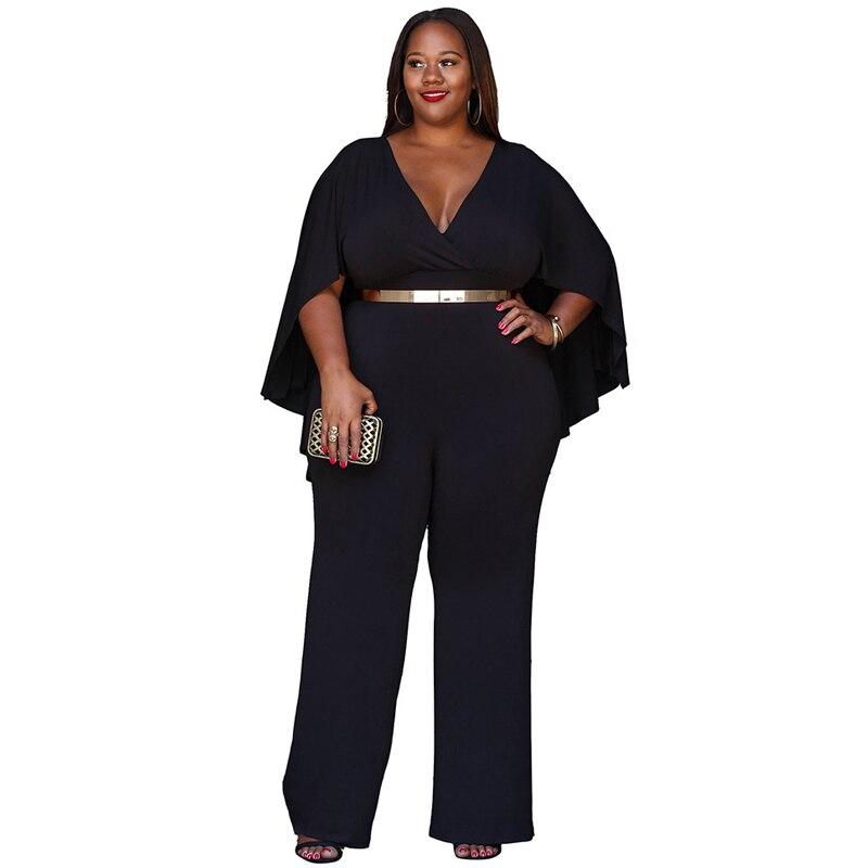 Plus Size Sexy V-neck Cloak Jumpsuit Women 2018 Summer Fashion Long Wide Leg Romper Big Size Black Tunic Party Clubwear Overalls