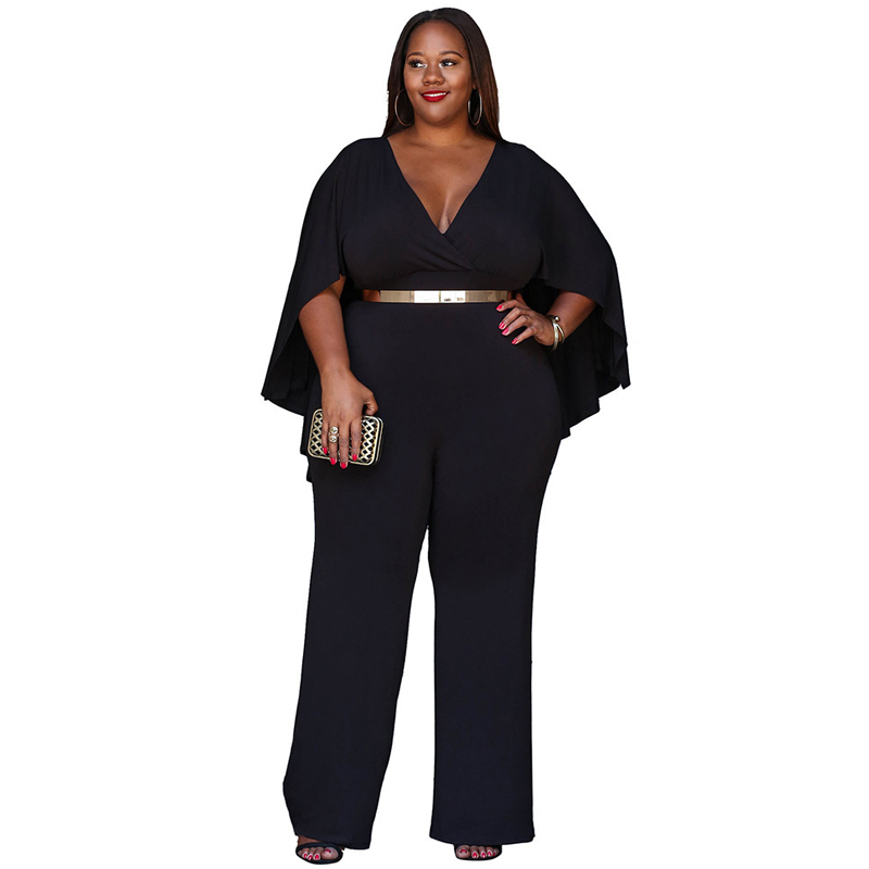 Plus Size Sexy V-neck Cloak Jumpsuit Women 2020 Summer Fashion Long Wide Leg Romper Big Size Black Tunic Party Clubwear Overalls