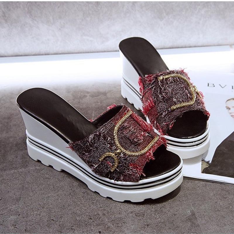 Ho Heave Summer Women Slippers Ladies Fashion Sandals Women Heel High Platform Casual Patchwork Wedges Outside Antiskid Shoes