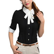 2017 NEW Work Wear Slim Half Sleeve Turn-Down Collar Blouse OL Shirt Women Tops