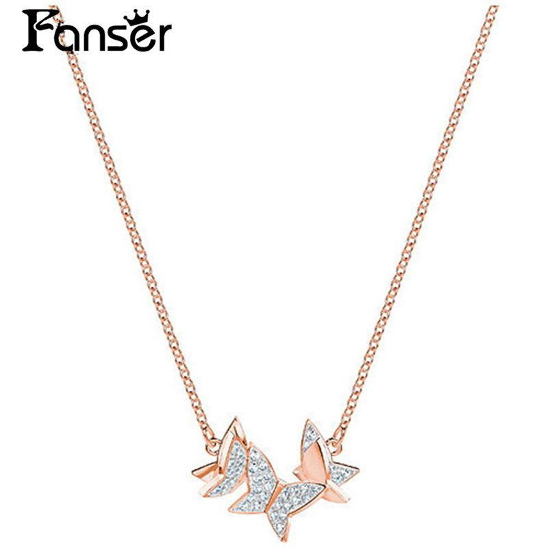 FANSER Butterfly Necklace 100% Pure Silver Swarov Lilia Rose Gold Copy Of The Official Lady Jewellery Free Mail Link chain