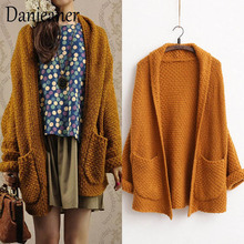 Danjeaner Harajuku Loose Long Cardigans Autumn Winter Solid Batwing Sleeve Thick Sweaters with Large Pockets Women Outwear Coats