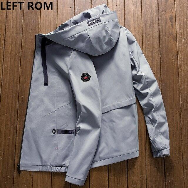 7aabe5fde498 € 26.25 |Izquierda ROM 2018 otoño nuevos hombres marca ropa deportiva  hombres moda abrigo windbreaker chaqueta cremallera Abrigos Outwear  chaqueta ...