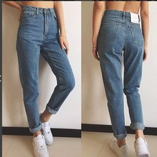 BIUZKO Women Casual High Waist 2018 Autumn Winter Celebrity Boyfriend Loose Mom Jeans