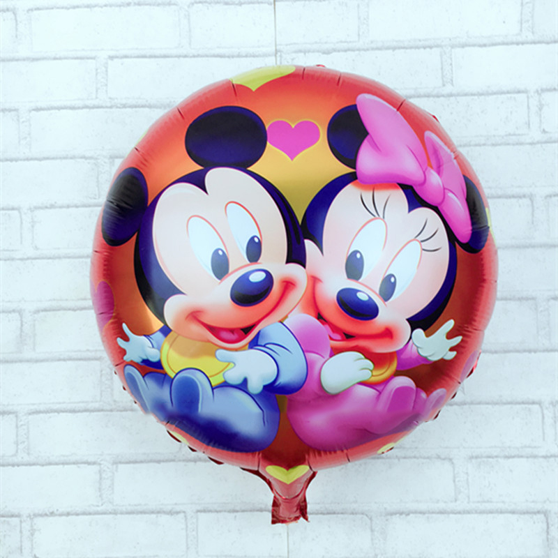 5psc/18 inches round aluminum Minnie Mickey helium balloons for childrens birthday party gift balloon activities