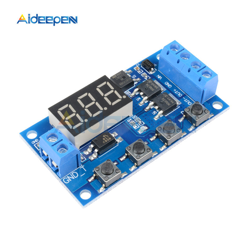 DC <font><b>12V</b></font> 24V <font><b>LED</b></font> Digital Time Delay Relay Dual MOS Trigger Cycle Timer Delay Switch <font><b>Circuit</b></font> <font><b>Board</b></font> Timing Control Module DIY image