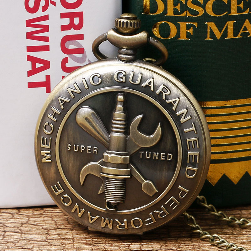 Casual Bronze Retro Mechanic Guaranteed Performance Theme Pocket Watch With Necklace Chain Men Women Best Gift
