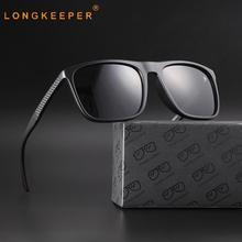 LongKeeper Square Polarized Sunglasses Men TR90 Classic Vintage Driving Glasses Male Sport Safety UV400 Eyewear