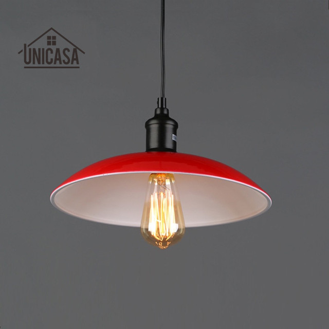 Modern Pendant Lights Red Shade Fixture Wrought Iron Lighting Kitchen Island Bar Office Hotel Antique Mini Ceiling Lamp