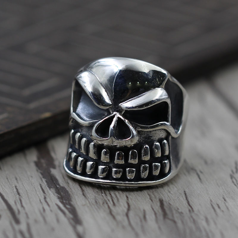 Sterling Silver Ring man skull ring opening domineering personality to create 925 vintage old silver jewelry