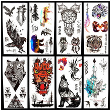 25 Style Choose 3D Large Black Eagle Tattoo Stickers For Men White Hawk Removable Waterproof Flash Tattoo Fake Body Arm Totem