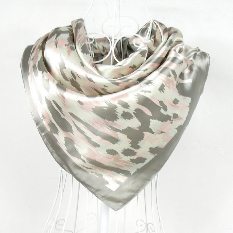 [BYSIFA] New Style Women Grey Leopard Print Pattern Satin Square Scarf 90*90cm Hot Sale Polyester Silk Scarf Printed For Autumn