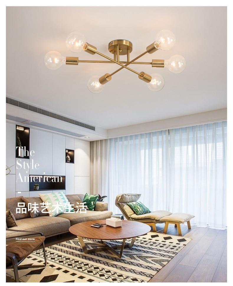 Us 34 86 45 Off Modern Sputnik Chandelier Lighting Fixture Nordic Semi Flush Mount Ceiling Lamp Brushed Antique Gold 6 Light Home Decor In