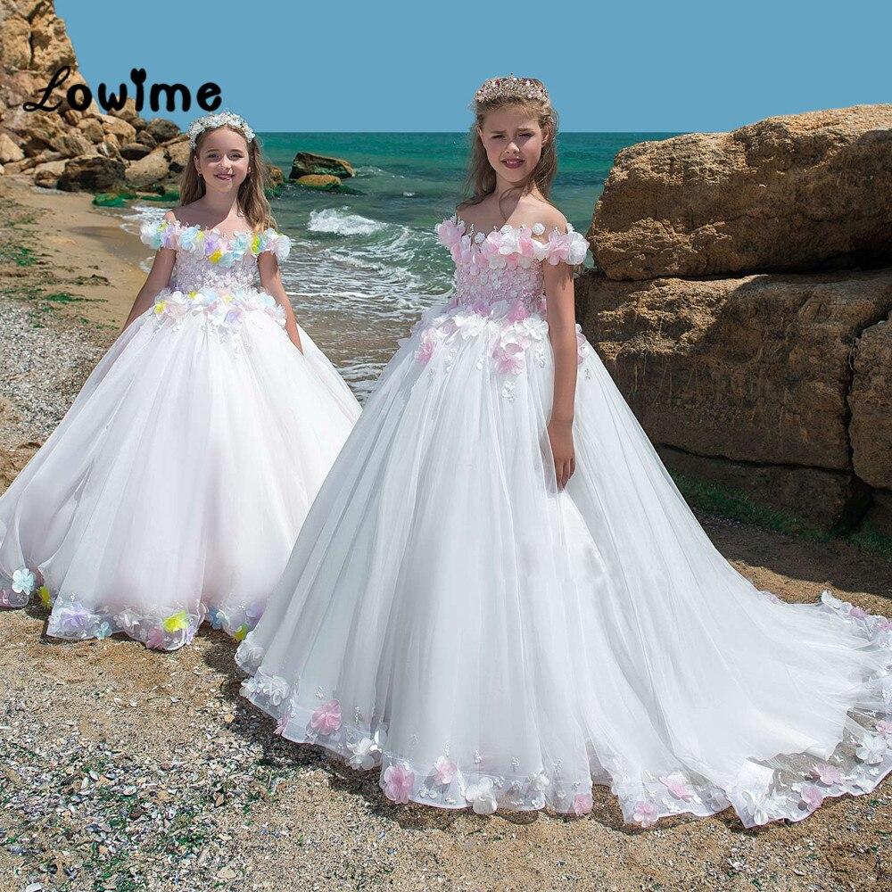 Flower Girl Dresses Pink Applique Ball Gown Customized Vestidos