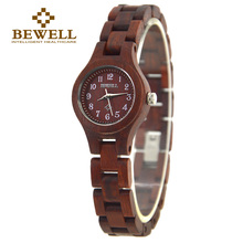 BEWELL Wood Woman Watches for Ladies Birthday Gift Watch Japan Quartz Movement Fashion Brand Sandalwood Wristwatch ZS-123A все цены