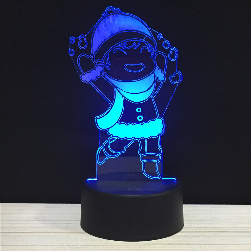 Santa Claus Merry Christmas Happy New Year LED 3D NightLight Acrylic Night Lamp Light Touch Remote Lamps Lights Kids Decoration