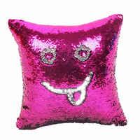 Подушка со стразами в виде русалки, Волшебная блестящая улыбка, декоративная, опт, меняющая цвет, двусторонний, в стиле пэчворк, однотонный ч...