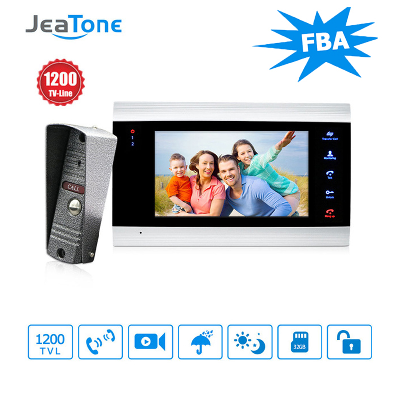 JeaTone New 7 inch Video Doorbell Monitor Intercom With 1200TVL Outdoor Camera IP65 Door Phone Intercom SystemJeaTone New 7 inch Video Doorbell Monitor Intercom With 1200TVL Outdoor Camera IP65 Door Phone Intercom System