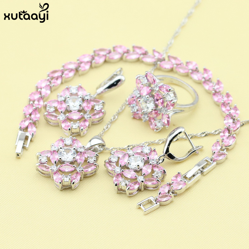 XUTAAYI Silver Colour Jewelry Sets Pink Synthetic Topaz Flawless Necklace font b Rings b font Earrings