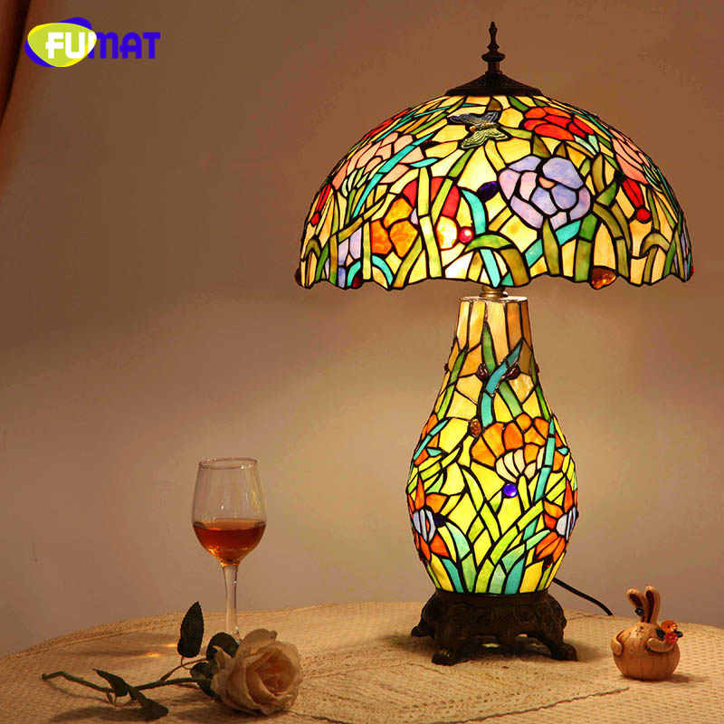 FUMAT European Tiffany Flat Living Room Table Lamp LED Creative Vintage Garden Stained Glass Table Lights Art Glass Table Light