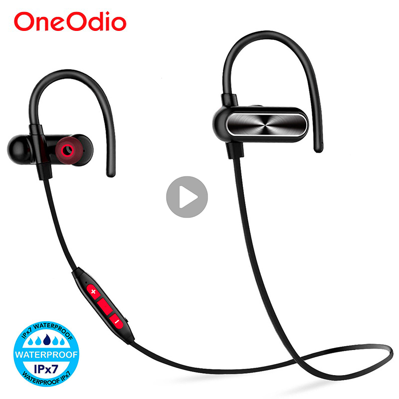 все цены на Oneodio Bluetooth Headphone IPX7 Waterproof Earbuds Sports Stereo Wireless Headset Bass Earphone With Microphone For Xiaomi aptx онлайн