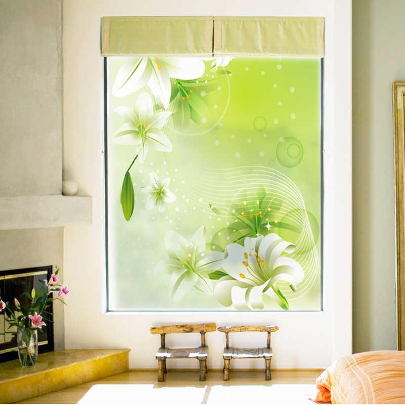 Janelas de lírio fresco adesivos varanda janela quarto translúcido opaco banheiro sala de estar banheiro cor folha de vidro-08