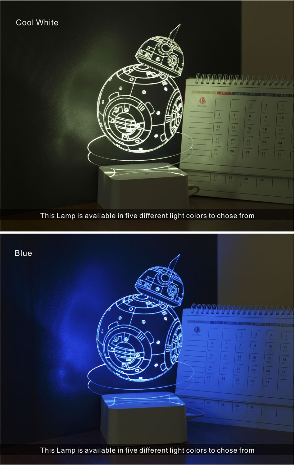 CNHIDEE USB Novelty 3D Visual Night Lights Star Wars Robort BB-8 Shaped Touch Table Desk Lamp Bubling Light as Creative Gifts (3)