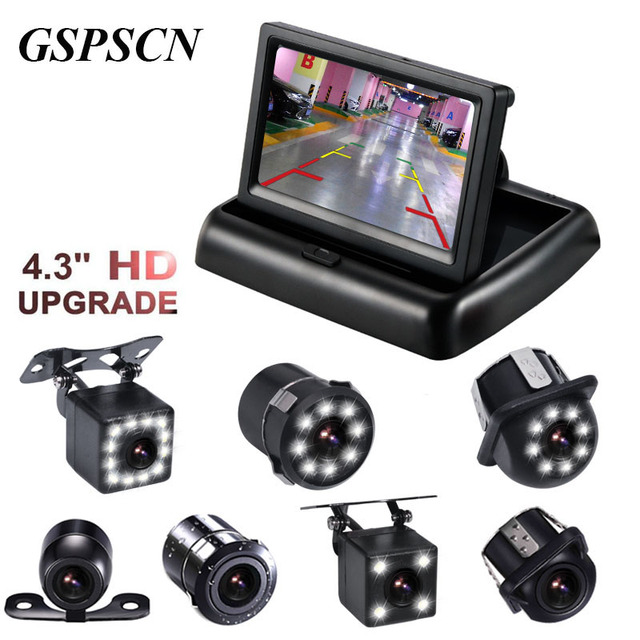 GSPSCN Night Vison Rear View Backup Camera With 4.3 inch Color LCD Car Video Foldable Monitor Kit Car Auto Parking Assistance