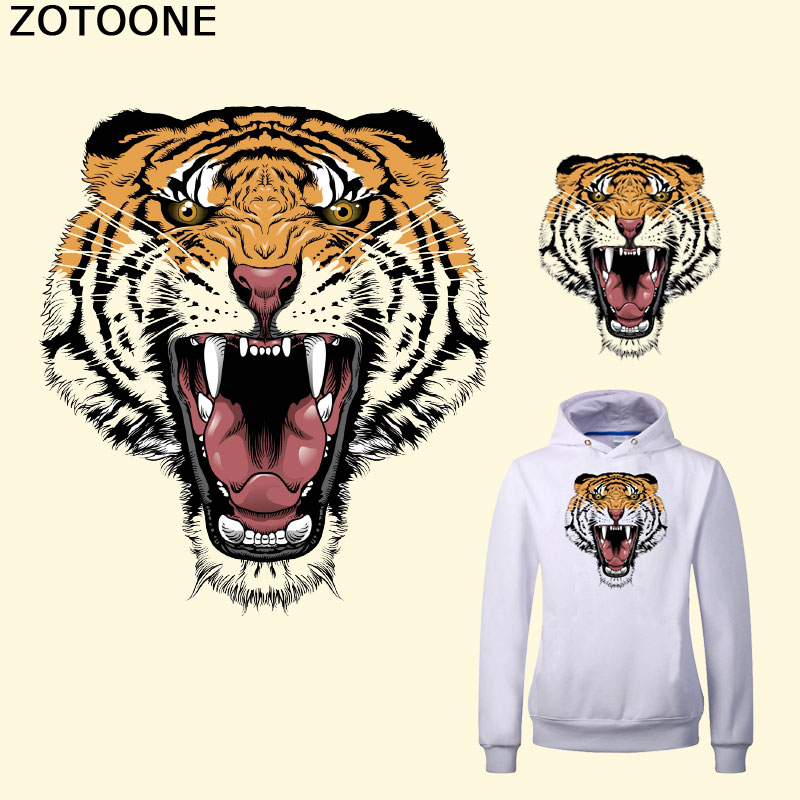 ZOTOONE New Animal Pattern Tiger Patches 12 6 14 2cm Patches for Clothing Diy T shirt Hoodies A level Thermal Transfer Sticker F in Patches from Home Garden