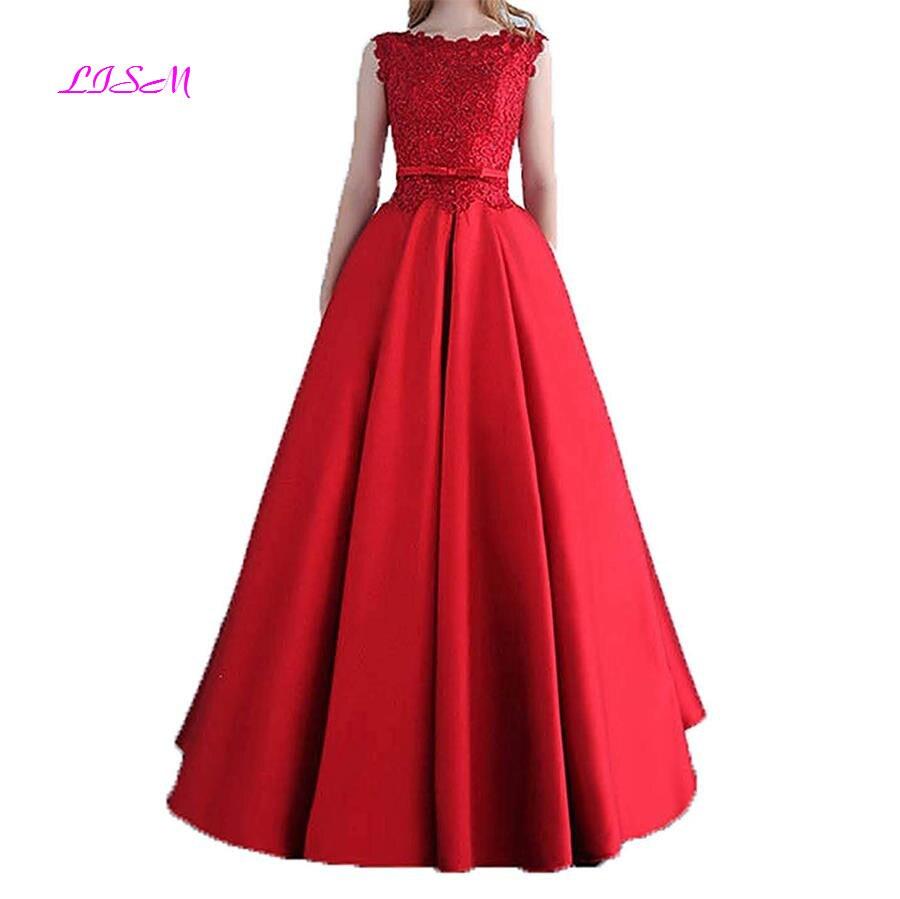 O Neck Lace Long   Prom     Dresses   2019 Beadings Appliques Princess Ball Gown Vintage Empire V-Back Bridesmaid   Dress   Vestido De Festa