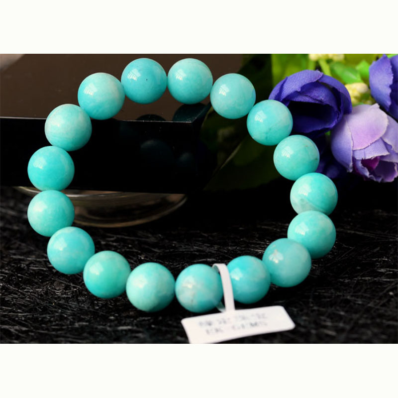 Confident Wholesale High Quality Genuine Natural Peru Blue Amazonite Stretch Finished Beaded Men's Bracelet Round Loose Big Beads