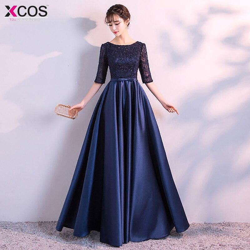 2019 bleu marine robes de soirée longue élégante robe formelle grande taille Satin robe de soirée corsage perlé dentelle top robe longue