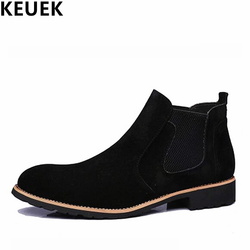Spring Autumn Men Genuine leather Martin boots Slip-On Breathable outdoor Tooling boots British style Ankle Chelsea Boots 3A стоимость