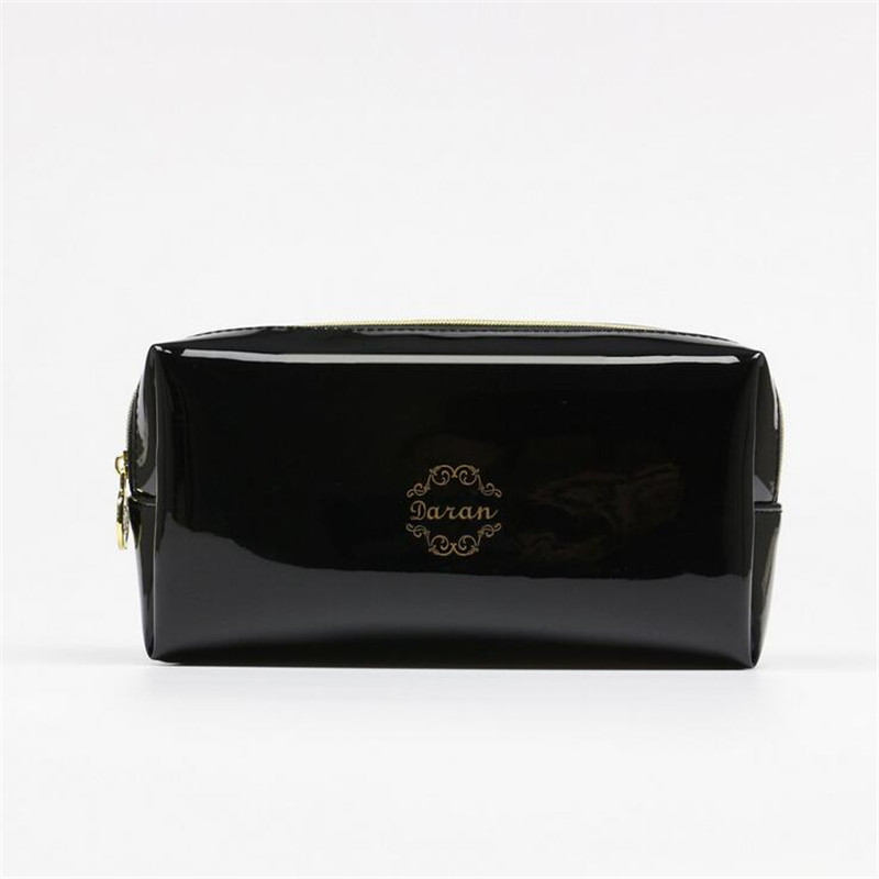 Quality PU leather Zipper Pillow Shaped Brand Cosmetic Bag Make Up Toiletry Bag Cosmetic Pouch Black