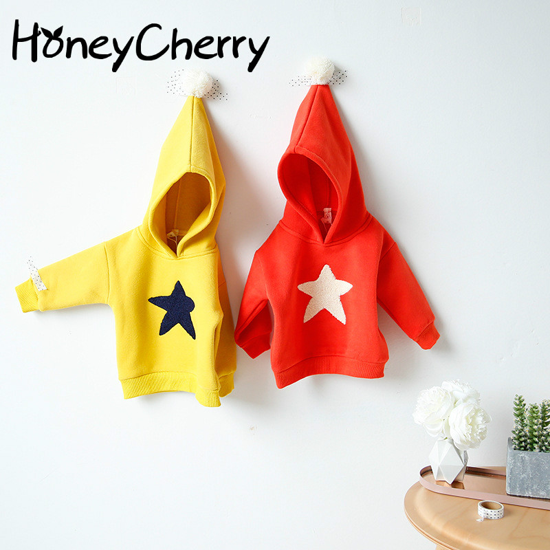 In The Autumn Of 17 New Boys And Girls Star Fleece Sweater Coat Children Girl Clothing Print Cartoon Sweatshirt Girl Boys Hoodie