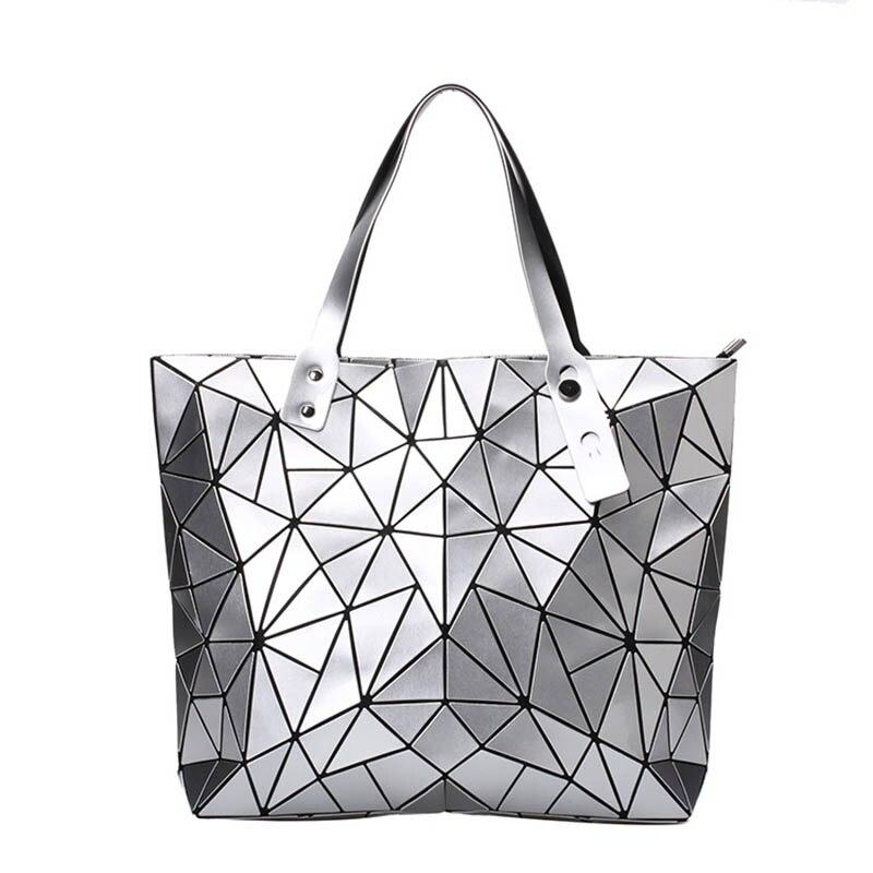 Bags For Women 2018 Diamond Lattice Geometry Folding Tote Quilted Shoulder Bag Sac Bags Casual Laser Handbags
