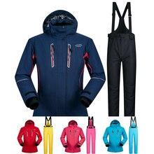 Сноубординг костюмы Для женщин зимние ветрозащитные Водонепроницаемый женский Лыжная куртка и зимние брюки наборы супер теплые марок Для женщин лыжный костюм