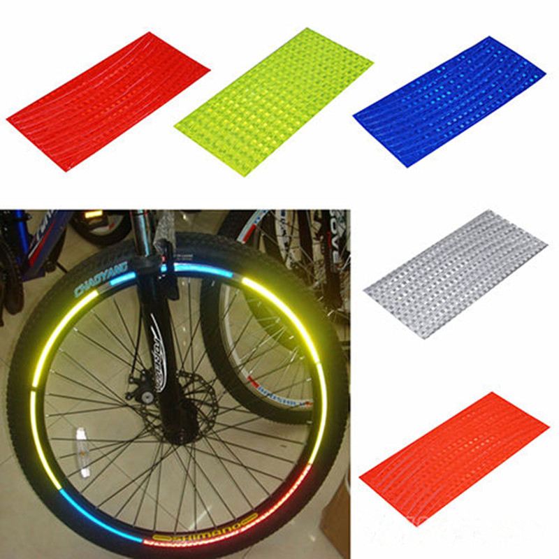 2017 Fluorescent MTB Bike Bicycle Motorcycle Wheel Tire Tyre Reflective Stickers Decal Tape Safety Silver For Bike Fashion New west biking bike chain wheel 39 53t bicycle crank 170 175mm fit speed 9 mtb road bike cycling bicycle crank